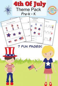 4th of July Printable Preschool Worksheet Pack