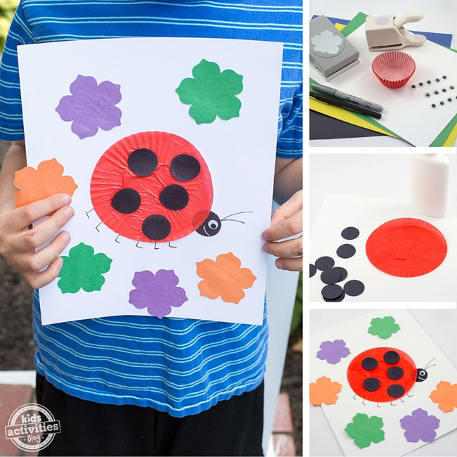 Ladybug Cupcake Liner Craft for Kids-2