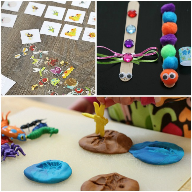 Letter I Activities Insect- memory cards with pictures of bugs on them like bees, butterflies, and dragonflies, bugs made with popsicle sticks with ribbon wings, googly eyes, pom poms (orange green blue and purple, and faux gems (pink purple blue and red), and pressing a yellow dragon fly into blue and brown playdough.