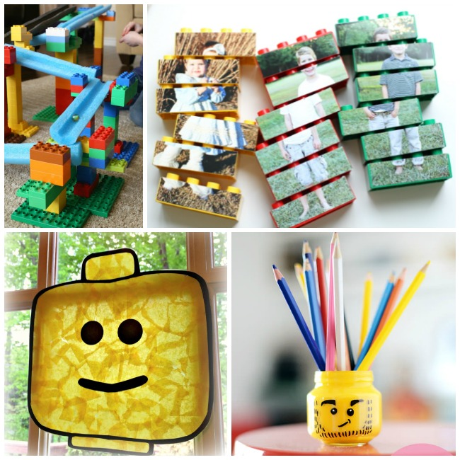 Letter L Activities LEGO- lego puzzle, lego marble run, lego suncatcher to look like a lego head, and a lego head pencil holder.
