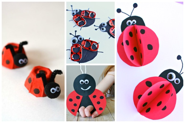 Letter L lady bug crafts- ladybugs made from egg cartons, red with black dots with pipe cleaner ears, black painted lady bugs with pop tabs painted red with black polka dots, red paper puppet that is red and black, and 3d paper lady bugs with googly eyes.