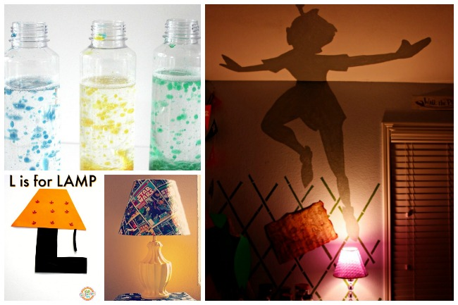 Letter L Activities Lamps Lights- diy blue, green, and yellow lava lamp in a clear bottle, letter L in the shape of an orange lamp, star wars lamp, lamp that emits peter pan shadow