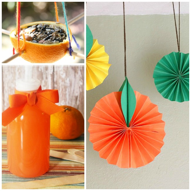 Letter O Activities Oranges- orange bird feeder hung by dowels and yarn, orange paper decorations, and orang bubble bath.