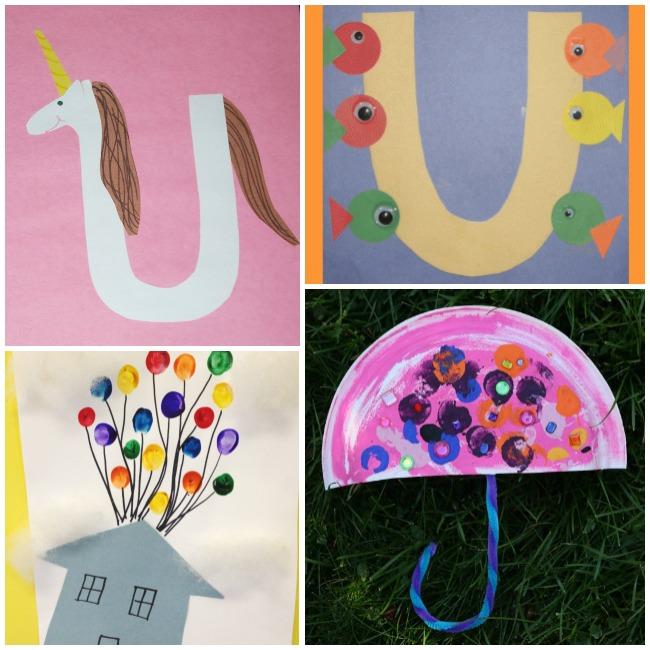 Letter U Activities and Crafts- unicorn with a yellow horn and brown and white hair, underwater U with fishes on it, the house from Disney's UP, and a paper plate umbrella craft.