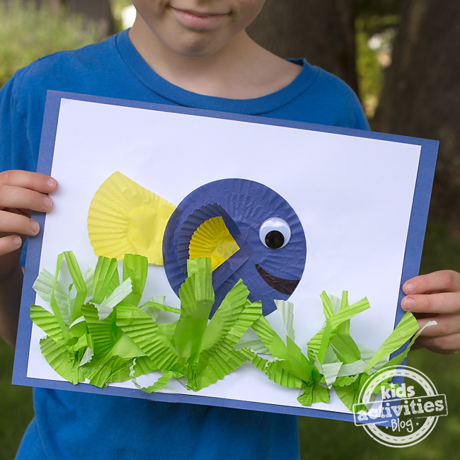 Finding dory cupcake liner craft for Finding dory crafts for preschoolers