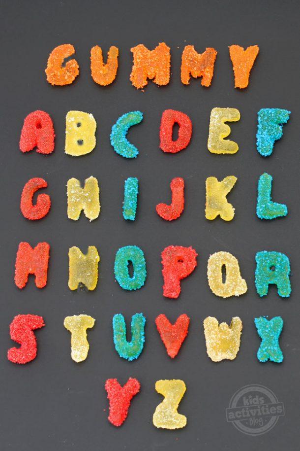 homemade-sour-gummy -alphabet-for the letter x
