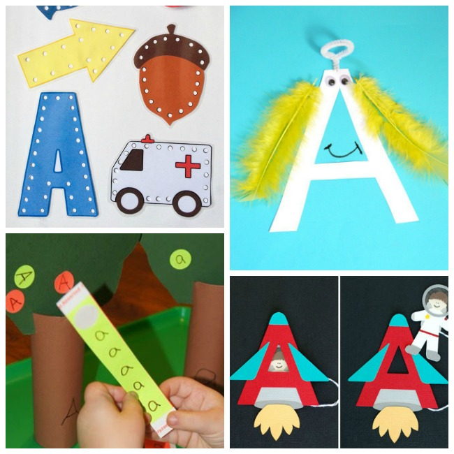 12 Letter A Activities- acorn, A, Arrow, and ambulance lacing cards, Angel with feathers made from the letter A, letter A sticks, and astronaut made from the letter A.