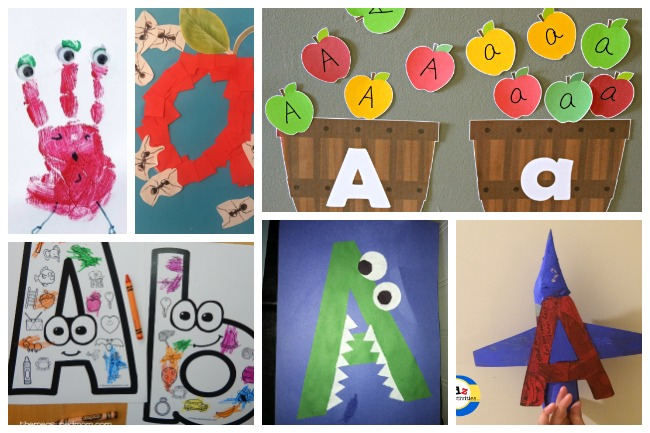 12 Letter A Activities- alien craft with eyes, apple craft made from a with ants, apple sorting game, A coloring sheet, alligator made from the letter a, and airplane made from the letter A.