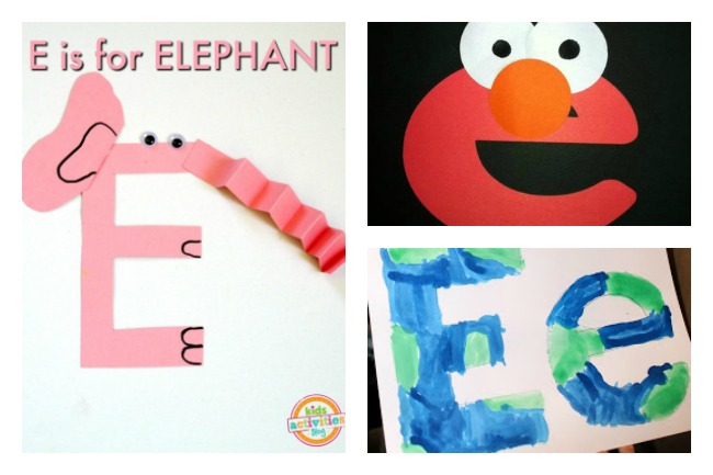 12 Letter E Activities- elephant made from E and is pink, elmo made from lowercase E, and the earth made from uppercase and lowercase E.