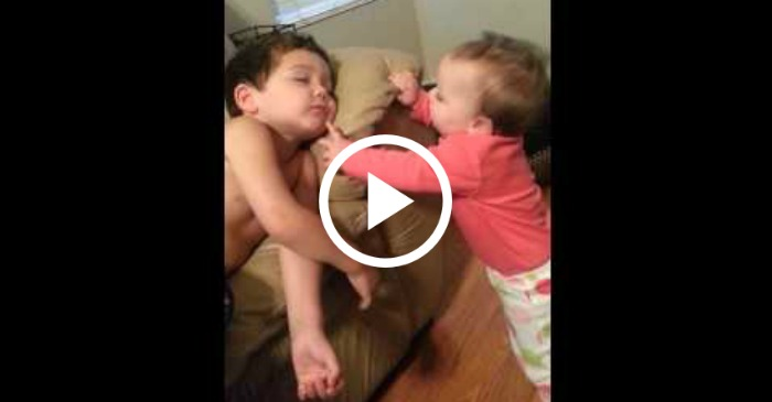 sister wakes up brother