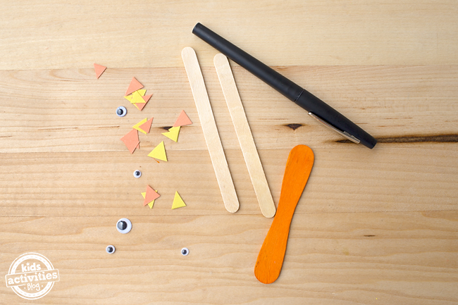 Kid-Made Craft Stick Tigers
