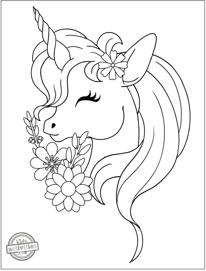 Easy Unicorn Head Coloring Page with long hair and flowers - Kids Activities Blog