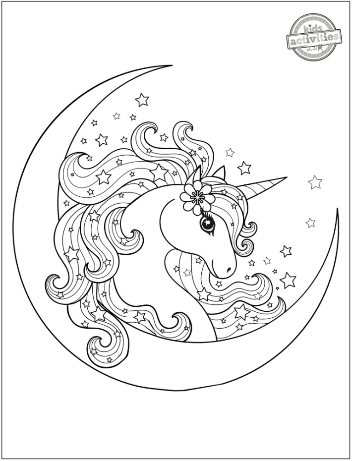 Magical Unicorn on Moon with Stars Coloring Page - Kids Activities Blog - shown is unicorn coloring page pdf with head of unicorn moon and stars