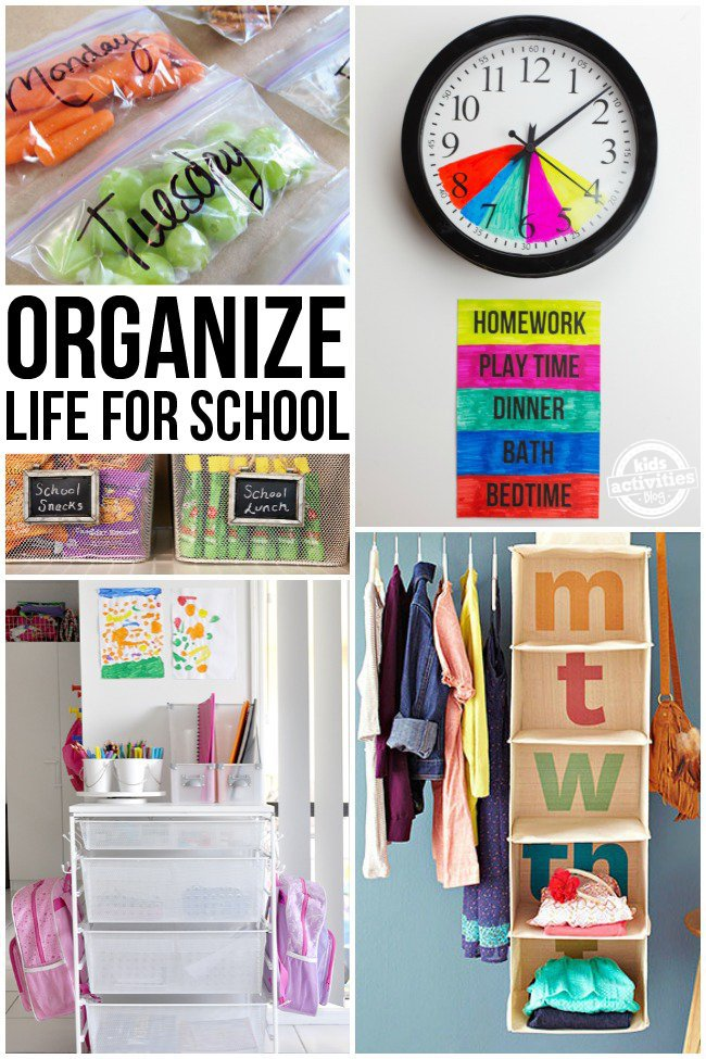 Organize your life for school with clothes shelves, homework shelves, a colored clock, baskets for snacks and daily snacks.
