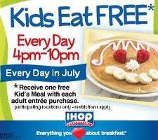 IHOP ~ Kids Eat Free from 4-10 pm in July!