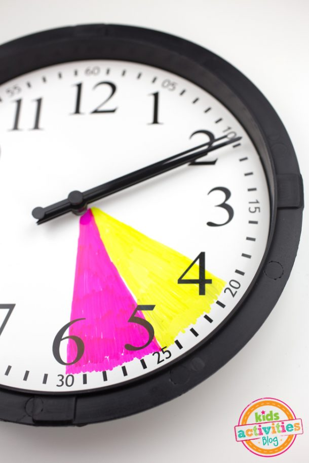 glass of the clock removed and colored using markers with each color corresponding to the particular activity