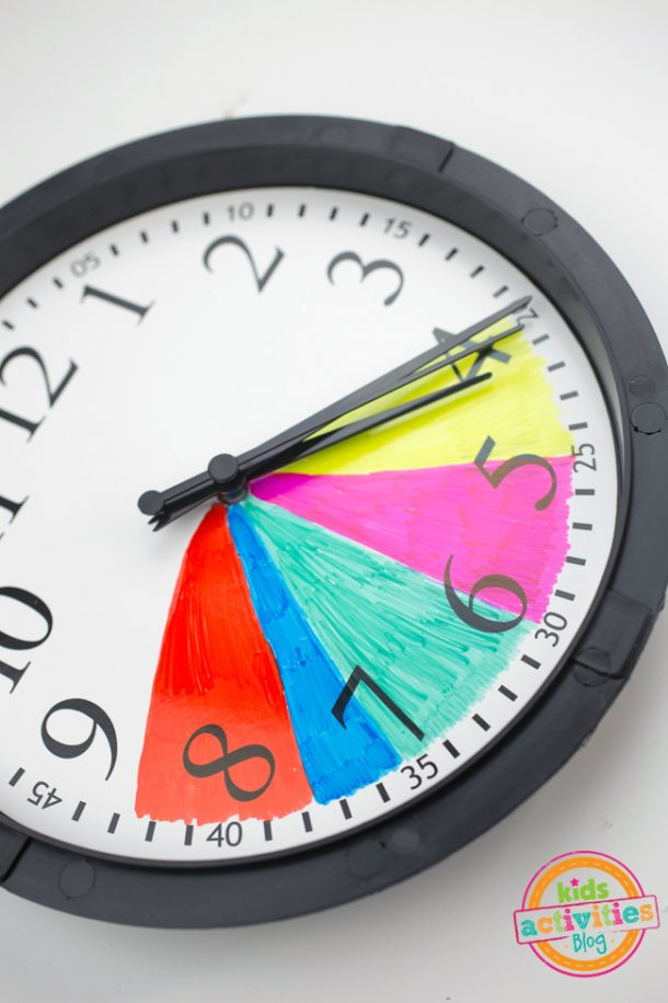 schedule clock is completed with the color coding using markers