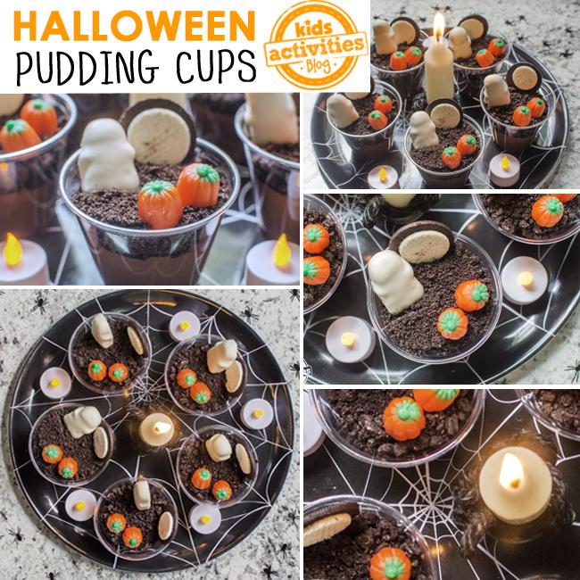 tasses de pudding d'halloween collage de différents angles des tasses de pudding mignonnes pour les vacances d'halloween