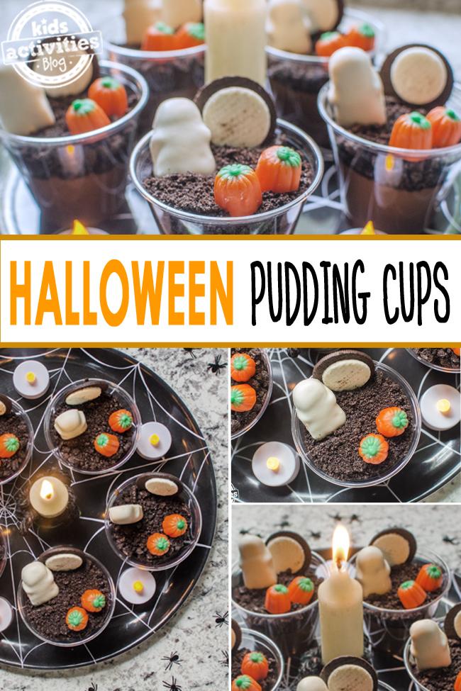 tasses de pudding d'halloween - collations de pudding de cimetière pour les enfants - tasses de pudding qui ressemblent à un cimetière effrayant