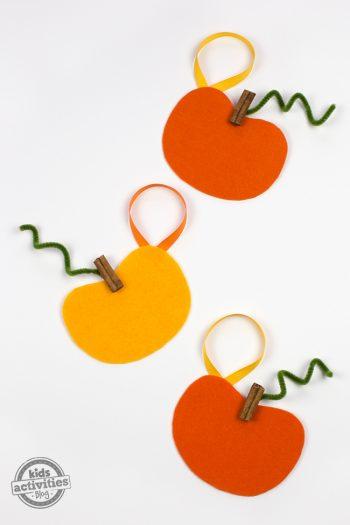 Cinnamon Stick and Felt Pumpkin Ornaments