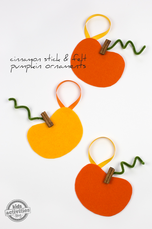 Cinnamon Stick and Felt Pumpkin Ornaments are a sweet DIY gift for neighbors, teachers, or friends.