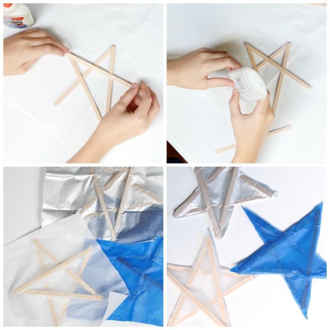 Tissue Paper Stars Silver Craft