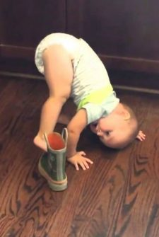 This Baby Trying To Get His Foot Into A Boot Will Crack You Up!