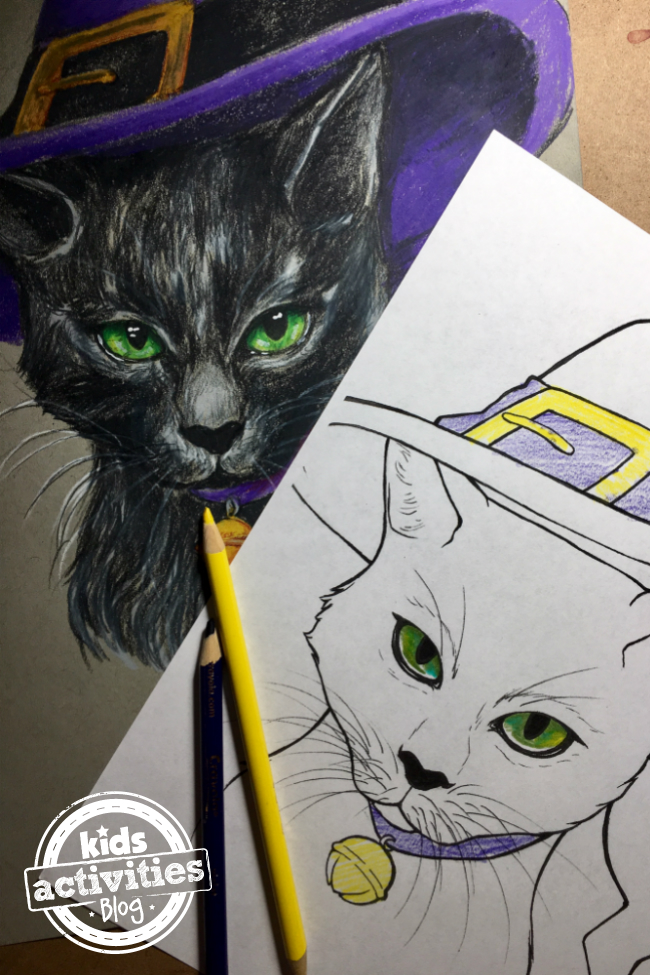 halloween cat coloring pages for kids