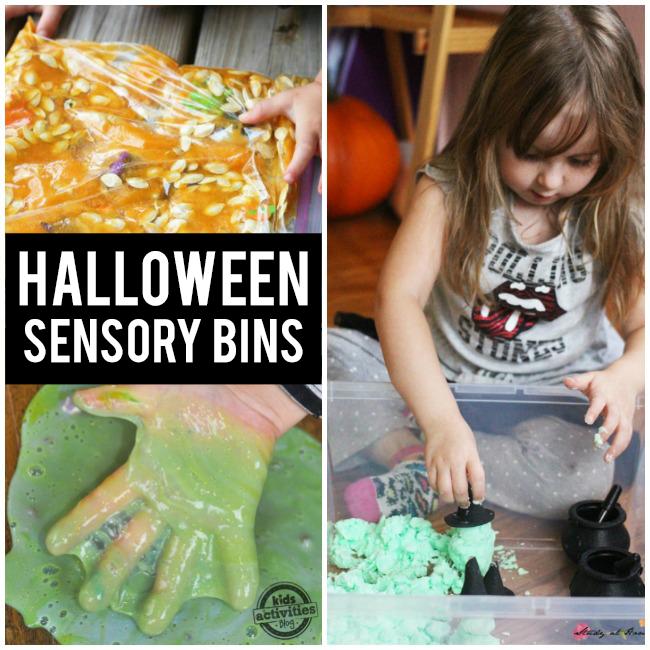 14 activités sensorielles amusantes pour Halloween - graines de goo et de citrouille orange, goo vert et sable de lune verte avec des chaudrons noirs.