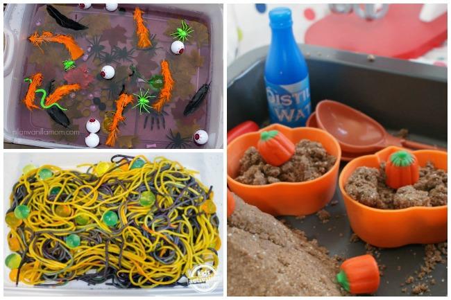 14 activités sensorielles d'Halloween amusantes avec des insectes jouets, des spaghettis d'Halloween orange et noir, du sable et des citrouilles.