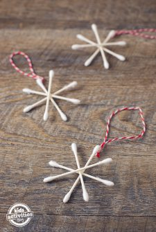 Q-Tip Snowflake Ornaments