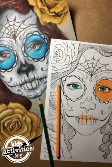 Day of the Dead Sugar Skull Coloring Pages for Kids