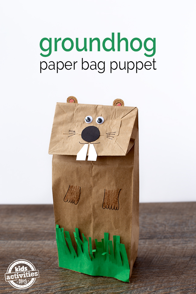 Easy and fun groundhog paper bag puppet for Brown paper bag crafts for preschoolers