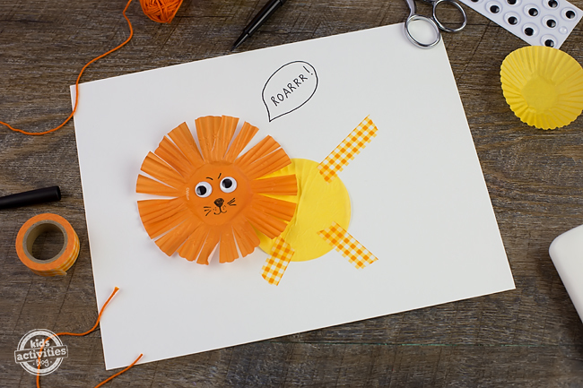 "Kids of all ages will enjoy making a colorful Cupcake Liner Lion to celebrate the famous spring saying, ""March comes in like a lion and goes out like a lamb."""