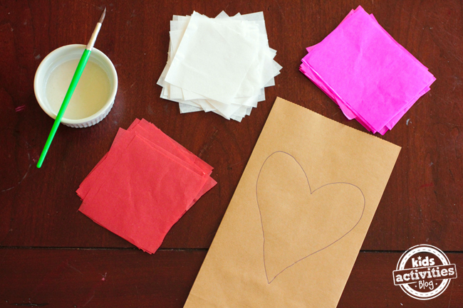 Tissue Paper Heart Bags
