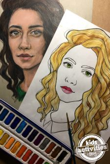 Portrait Coloring Page for Kids and Adults