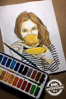 Café Girl Coloring Page for Kids and Adults