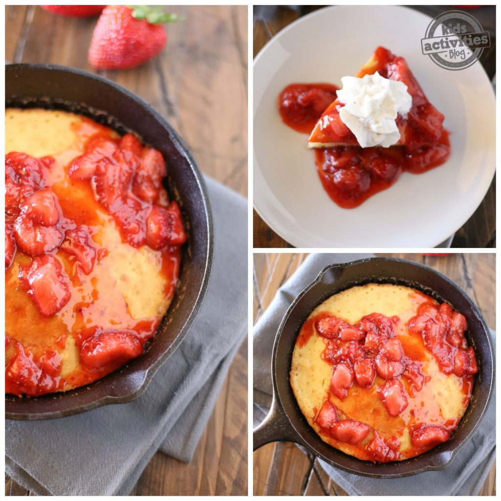 Skillet Pancake with Strawberry Syrup