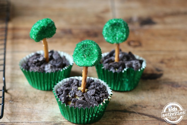 How cute are these earth day treats- they have a marshmallow base, with crumbled oreos, a pretzel stick with a piece of marshmallow dipped in sugar sprinkles that are green. They look like trees in the mud!