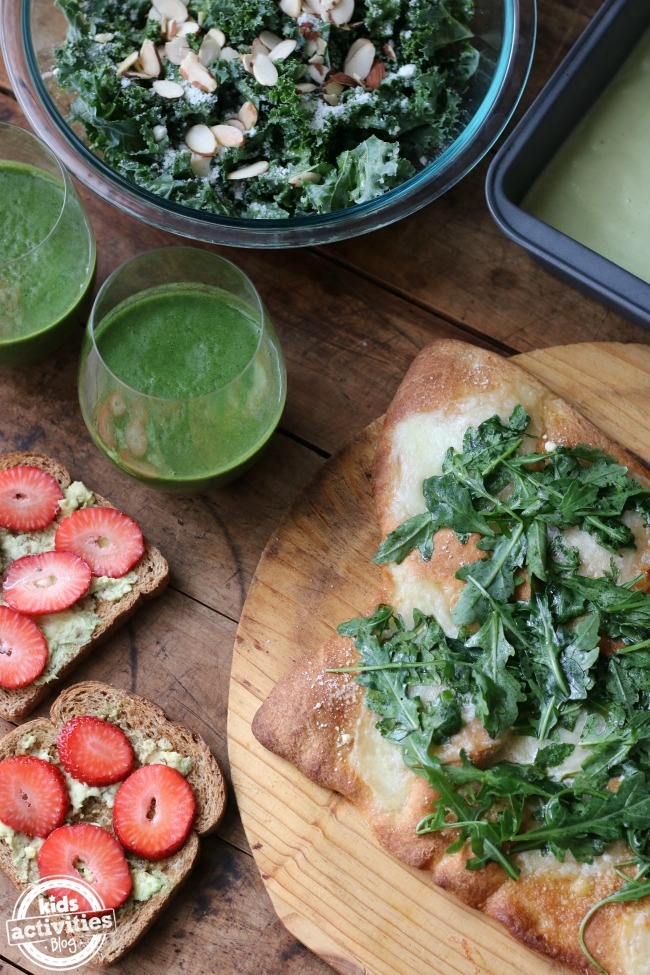 5 Yummy Green Earth Day Recipes - salad, flatbread, strawberry avocado toast and green smoothie