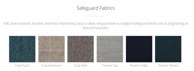 Joybird Safeguard Fabrics for sectional sofa