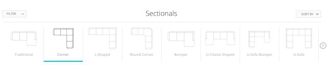 Joybird sectional selection with the corner sectional selected - screenshot from Joybird website in ordering process
