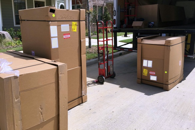 joybird sectional sofa delivery in three boxes