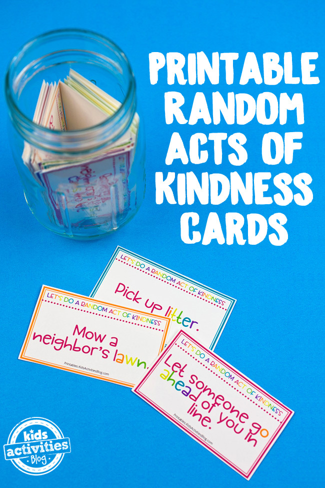 image relating to Random Act of Kindness Printable identified as Random Functions of Kindness Playing cards for Youngsters: 40 Absolutely free Printable Playing cards