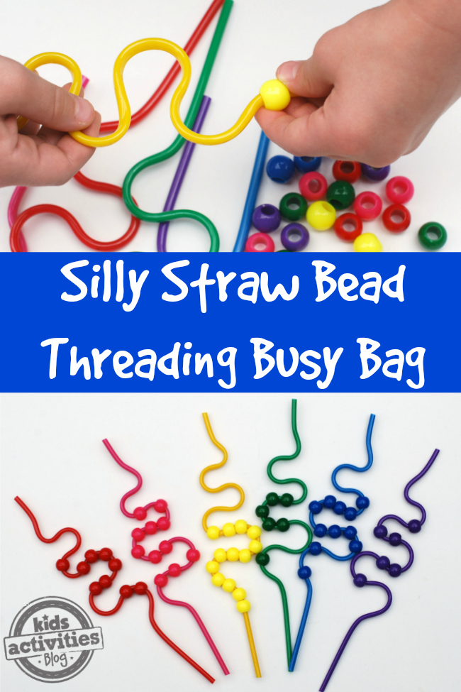 This Silly Straw Bead Threading Busy Bag is a great way for preschoolers to practice sorting by color and work on fine motor skills at the same time.