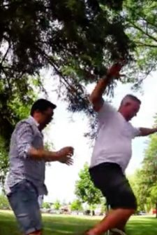 Dads Try Out A Unicycle At A Birthday Party