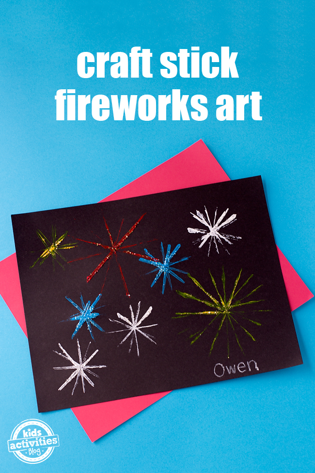 Craft Stick Fireworks Art