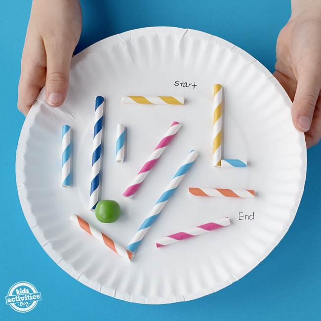 This paper plate marble maze uses basic paper straws and glue. It's perfect for car rides, lazy afternoons, or a quick STEM activity for school.