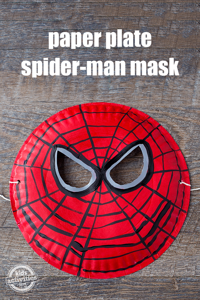 This Paper Plate Spider-Man mask is perfect for imaginative play at home, as a birthday party craft, or even a Halloween costume.