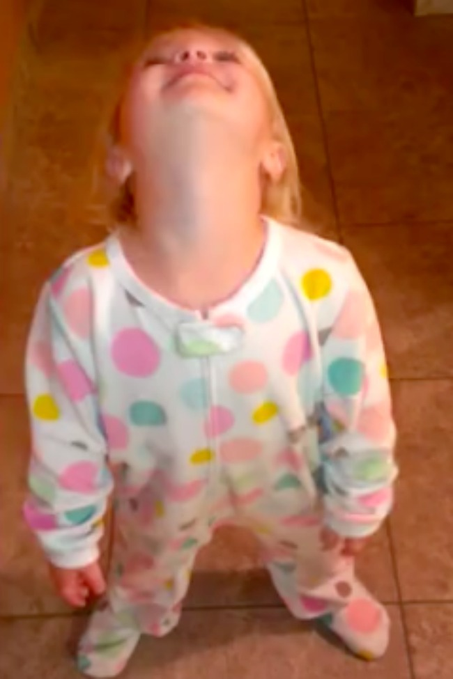 Little Girl Has An Accident, Wobbles Toward The Bathroom